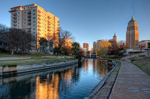 morning water architecture sanantonio sunrise geotagged downtown day texas dam clear condo hdr condominium riverwalk towerlife brandonwatts geo:lat=29419278 geo:lon=98492233