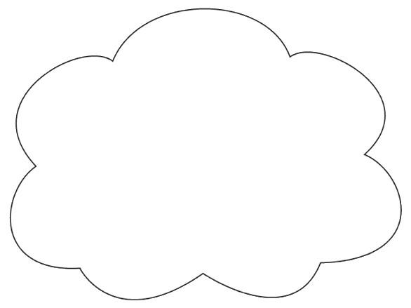 Cloud Shape Clipart White Fill Op Lge 15cm This Clipart