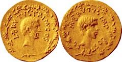 RRC 506/1 Aureus Lucius Brutus consul 509BC wreath, Marcus Brutus wreath