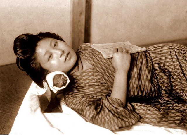 A GEISHA'S DAY OFF -- Caught Napping and Reading During a Private Moment in OLD JAPAN