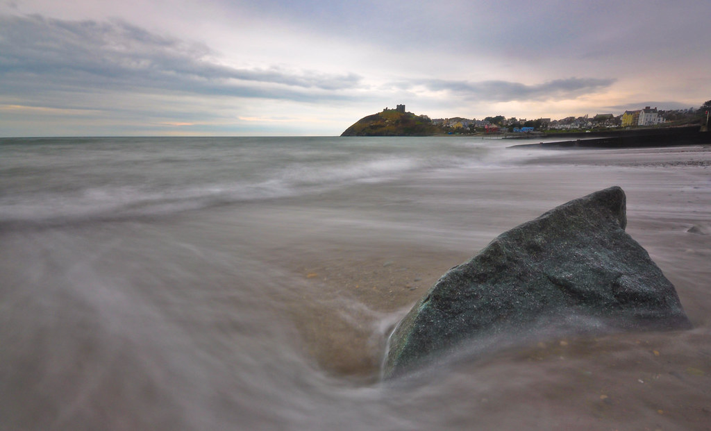 Shark-Fin Rock at Criccieth Beach