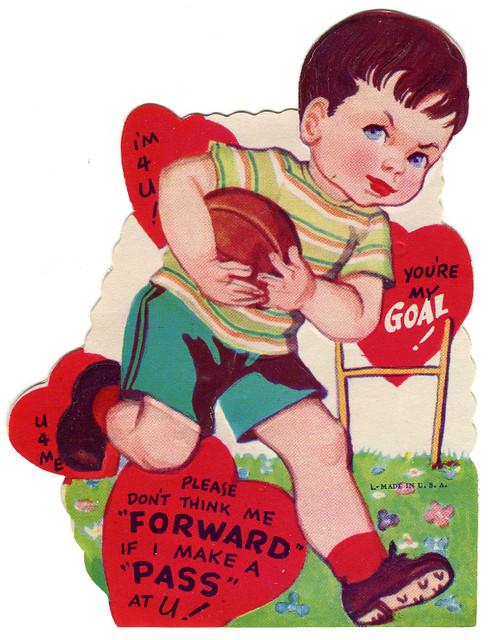 vintage valentine football pass