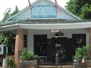 The Whistle Stop Cafe-- as seen in the movie- Fried Green Tomatoes. It's in Juliette, Georgia.