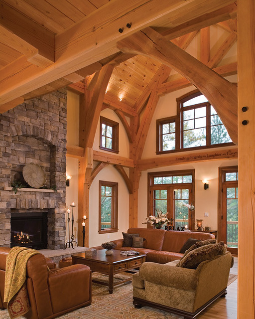 Timber treasure timber frame home great room flickr for Timber frame great room