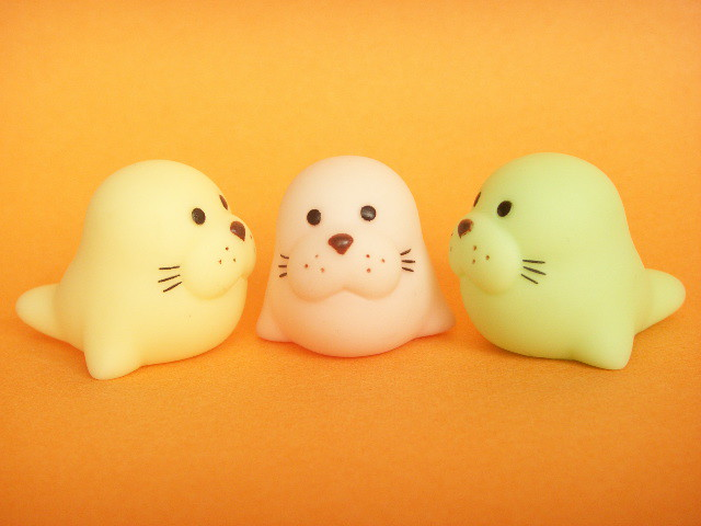 Cute Japanese Toys : Kawaii cute seal small rubber dolls mascot japanese toys
