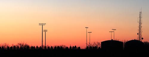 orange sunrise lights baseball stadium panoramic antenna tanks asahipentaxsupertakumar135mmf35