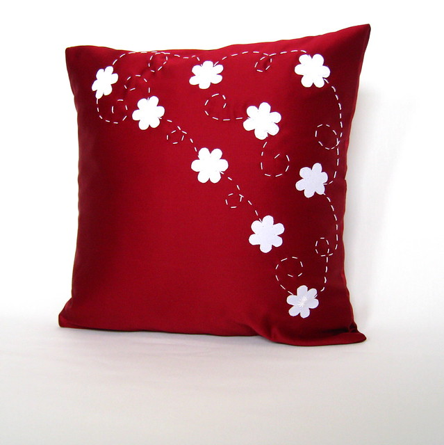 Modern Pillow Covers : White and Red Floral Modern Pillow Cover Flickr - Photo Sharing!