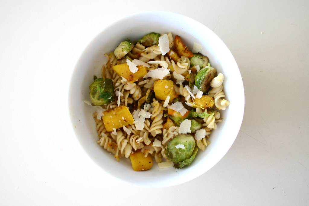 Pasta with Delicata Squash and Brussels Sprouts