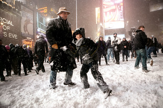 Snowball fight in Times Square, Manhattan, New York
