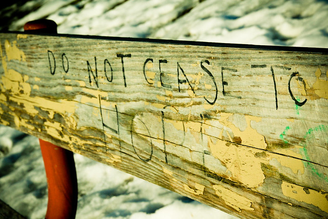Do Not Cease to Hope Graffiti Bench March 07, 201014 from Flickr via Wylio