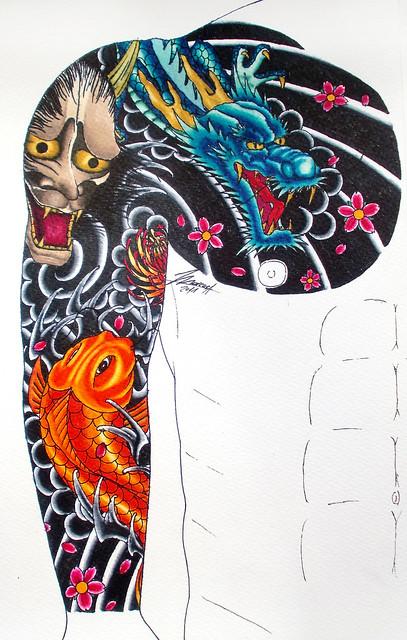 Japanese arm chest tattoo Resultado final al fin con color