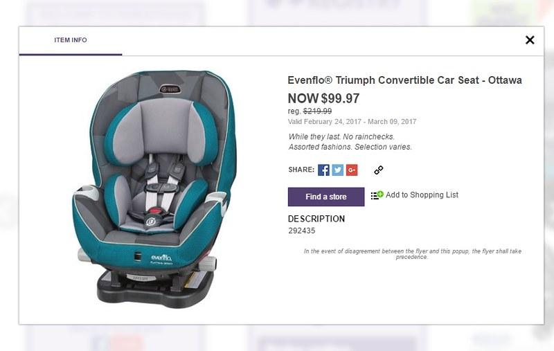 Babies R Us Evenflo Platinum Triumph LX Car Seat 9997