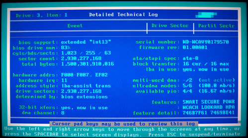 20091212 - 5 - harddrive failure - SpinRite software - GEDC1115 - Detailed Technical Log