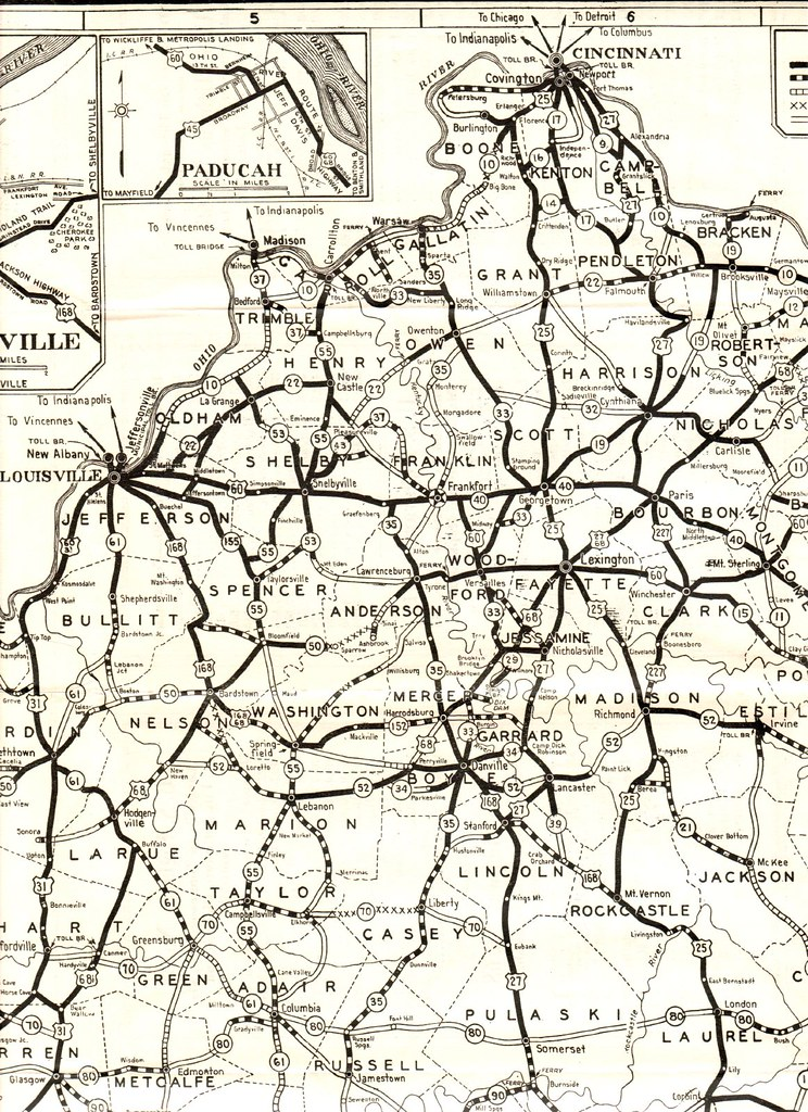 1930 Road Map of Kentucky | Central section of State Map Pub… | Flickr