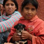 Girls With Their Puppy - Near Kuelap, Peru