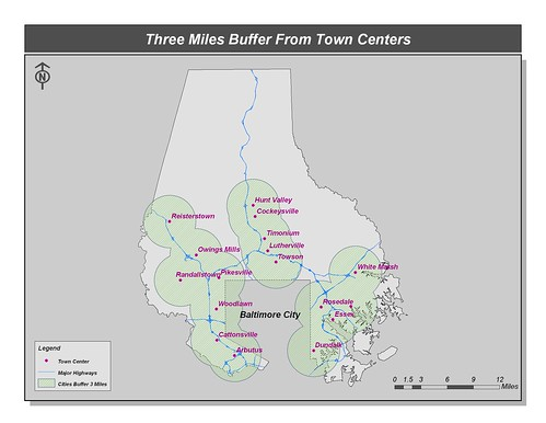 3 mile sustainable transportation zones, Baltimore County