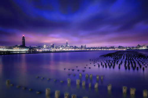 nyc newyorkcity longexposure newyork reflection skyline night geotagged dawn newjersey jerseycity cityscape trainstation esb hudsonriver empirestatebuilding chryslerbuilding lightrail hdr hoboken ferryterminal mudpig stevekelley