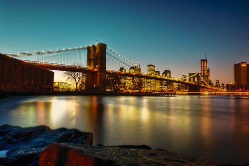 nyc newyorkcity longexposure bridge sunset newyork skyline brooklyn night geotagged cityscape dusk dumbo brooklynbridge eastriver hdr mudpig stevekelley