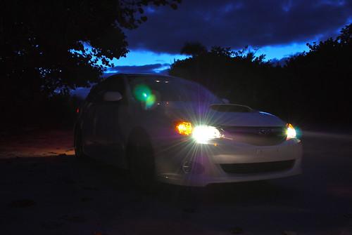 auto white car silhouette clouds sunrise nikon automobile florida headlights stuart subaru hatch rex impreza wrx scooby hatchback 2010 scoob subie d60