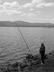 fishing, recreation, outdoor recreation, loch, lake, bay, recreational fishing, monochrome photography, monochrome, coast, fisherman, angling, black-and-white,