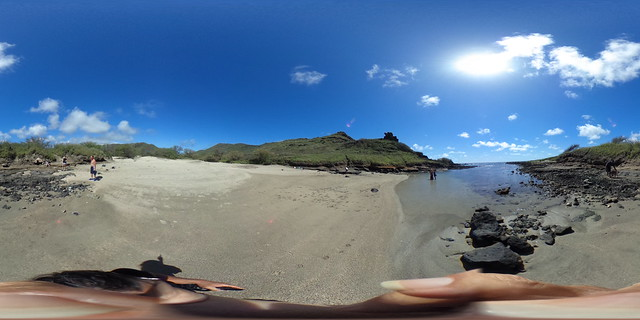 Kapaliokamoa (the cliff of the Chicken)  a.k.a. Pele's Chair or Queen's Chair looks more like a squatting chicken than a chair from here at the Alan Davis Beach at the Kaho'ohaihai Inlet on O'ahu's Ka'iwi Shoreline  - a 360 degree Equirectangular VR
