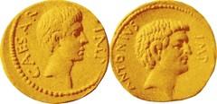 RRC 529/2 #9925-38 M.ANTON C.CAESAR Octavian Winged caduceus Denarius