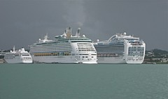 Size Really Does Matter! Silver Wind, Adventure of the Seas and Crown Princess docked at St Johns, Antigua