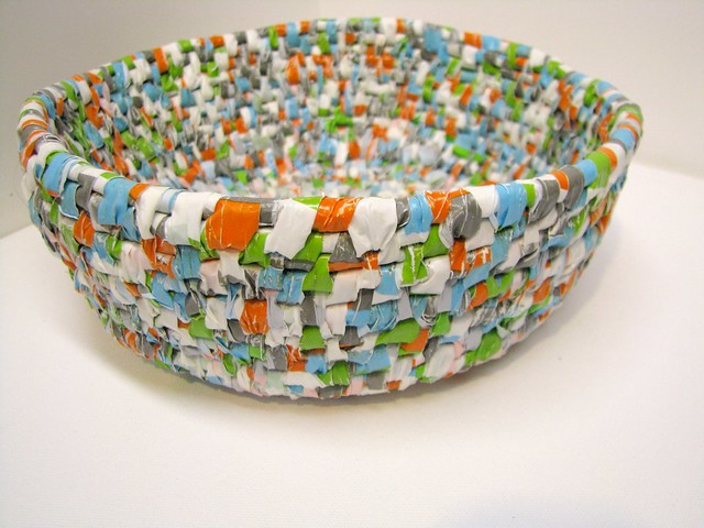 Plastic recycled into basket flickr photo sharing for Uses waste material art craft