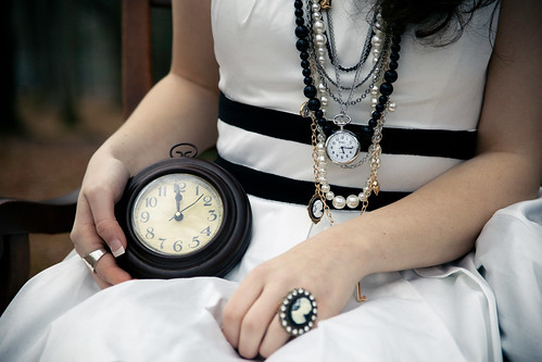 portrait brown white black broken beautiful hands chair dress stripes pearls ring cameo clocks aliceinwonderland thewhiterabbit clocknecklace canoneos5dmarkii 115907 englewoodpark callieramsay whokilledtime
