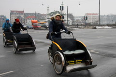 Bike Taxi Convoy with Smile - Cycling in Winter in Copenhagen