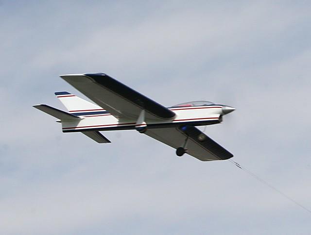 Control Line Model Airplane In Flight