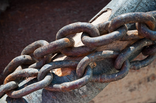 Close-up of large rusty chain links