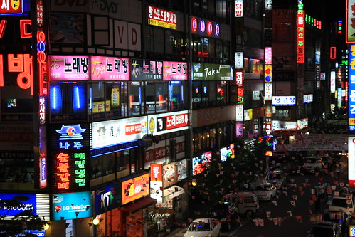 Korean night street