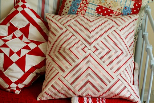 patchwork striped cushion