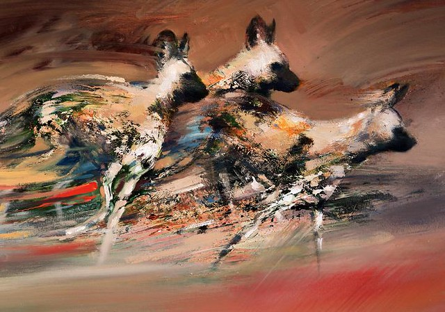 The Chase. African Wild Dogs. Mixed Media on canvas 24x36 ...