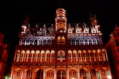 Burning 'House of  King' on the Grand Place of Brussels