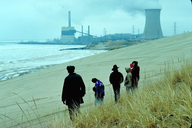 Lake Michigan dunes with power plant in background - epa.gov