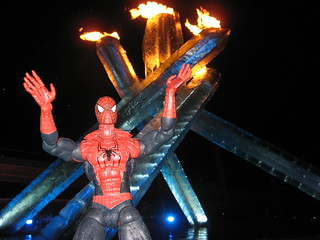 Spider-Man is ecstatic at the Vancouver 2010 Winter Olympics Cauldron