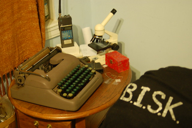 typewriter, 2-meter amateur radio transciever, optical microscope, ...
