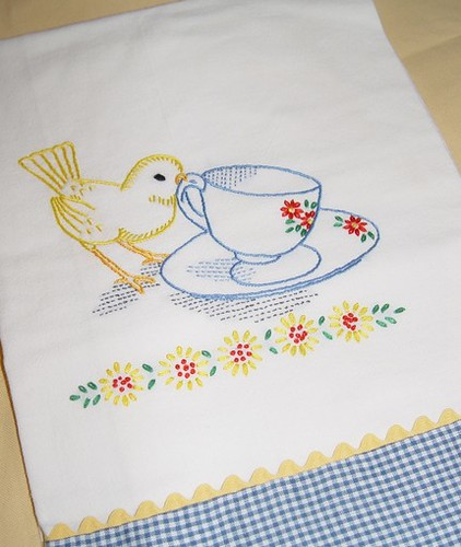Tea Time For Little Bird Hand Embroidered Flour Sack Tea