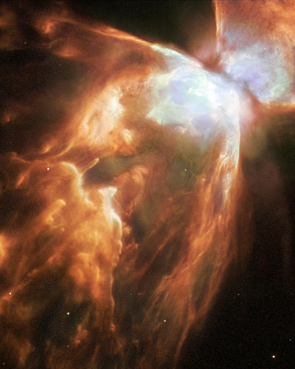 Dying Star Shrouded by a Blanket of Hailstones Forms the Bug Nebula
