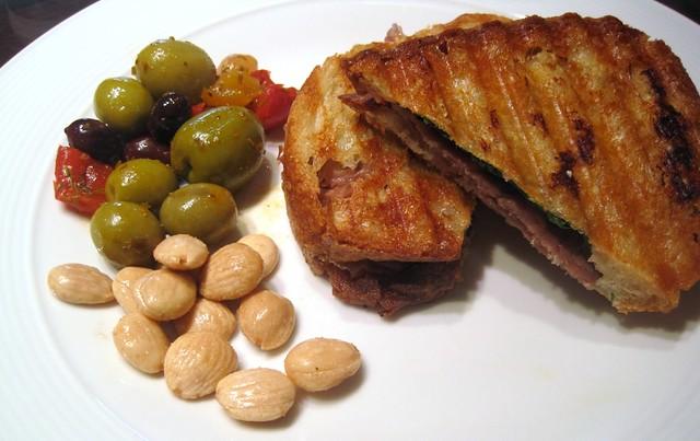 Prosciutto, Chive Goat Cream Cheese, and Baby Arugula Panini with ...