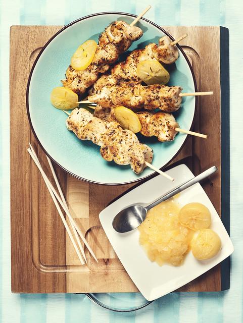 Brochettes de poulet marin huile d olive fruit e noire for Marinade poulet huile d olive