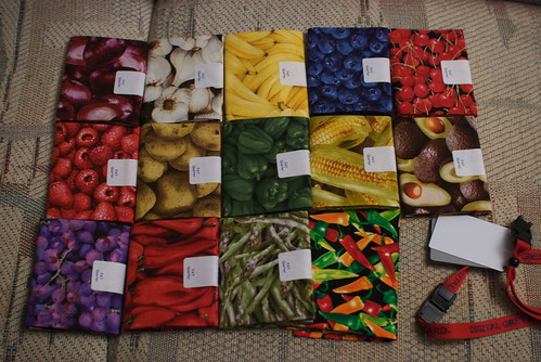 Jacob asked if he could bring me some fabric when he visited for New Year's 2009/2010, and asked what I was like.  I suggested bringing OCP** fabric, and left the exact execution up to him.  What he found were fat quarters of fabrics all relating to food.  I joked, 'I should sew these all together and call it 'Eat This Quilt.'' I think the name may stick.  See the entry on my site: domesticat.net/2010/01/previews-2010-box-summer-2009