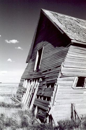 bw white black clouds barn landscape saskatchewan