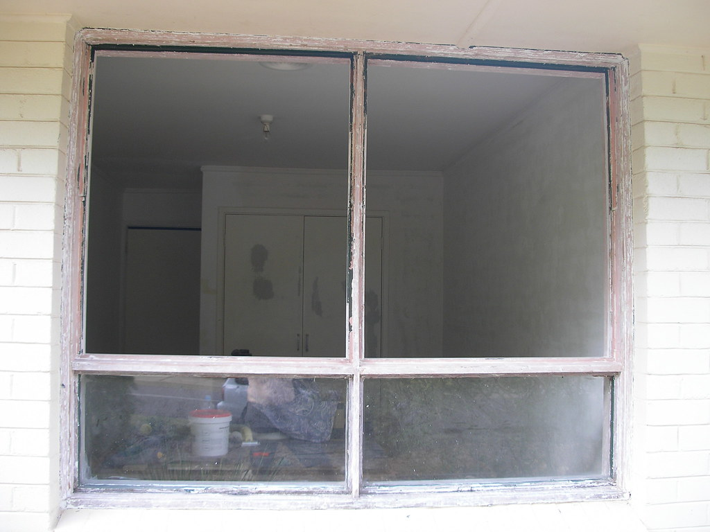 Double awning windows - Double Awning Window With Sashes Removed During Stripping And Re Glazing