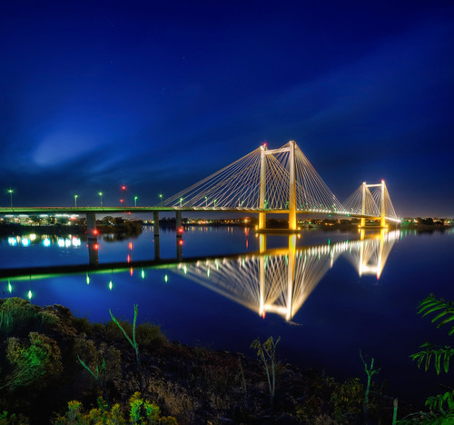 bridge night reflections cable columbiariver washingtonstate hdr kennewick pasco tricities franklincounty bentoncounty nikond90