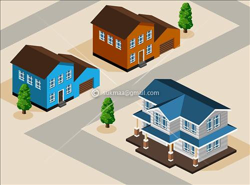 isometric view modern house