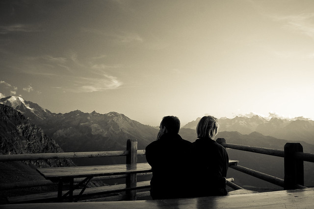 two people viewing mountains