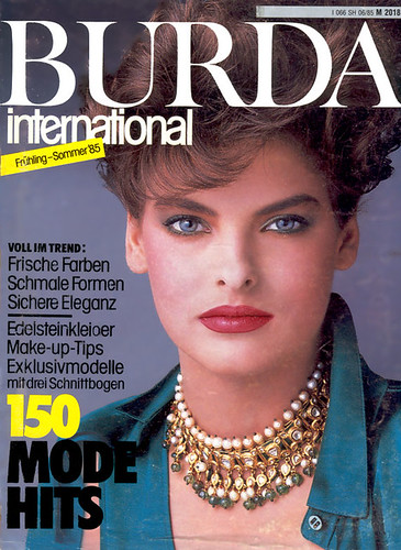 Linda Evangelista on the cover of Burda international magazine, Frühling-Sommer 1985